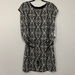 AB STUDIO Black & White Knit Popover Dress NWT
